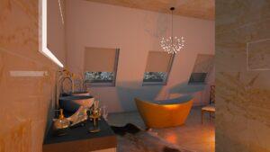Badezimmer mit indirektem Licht